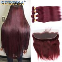 kırmızı düz insan saç uzantıları toptan satış-Bordo Şarap Kırmızı 99J Brezilyalı Bakire Saç Örgü Demetleri ile 13x4 Frontal Kapatma Ile Perulu Düz Bebek İnsan Saç Uzatma