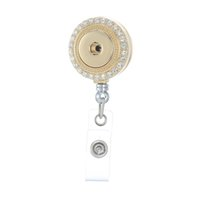 ingrosso bobine bianche-Legenstar Trendy Retrattile Badge ID titolare con cristallo bianco rotondo in lega di zinco Gioielli ciondolo misura 18mm Charm Snap Button
