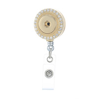 weiße abzeichenrollen großhandel-Leggenstar Trendy Retractable Abzeichen Reel ID Halter mit weißem Kristall Runde Zink Legierung Anhänger Schmuck fit 18mm Charm Snap Button