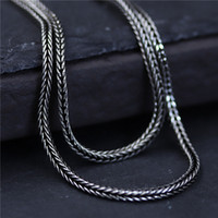Wholesale mens 925 sterling silver jewelry - designer jewelry vintage 925 sterling silver Woven fox tail chain 1.5mm 45-75cm marcasite women's sweater chain mens chain china direct
