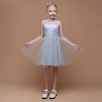 Wholesale beautiful ivory flower girl dresses for sale - Group buy Beautiful Kid s Party Dress Ruffled Tulle Skirt Designer A Line Style Knee Length Flower Girl Dress Communion Dress