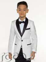 casaco de meninos venda por atacado-New Fashion White Boy Formal Wear Boy Bonito Vestuário Infantil Vestuário de Casamento Blazer Festa de Aniversário Prom Suit (jaqueta + calça + gravata + colete) 17