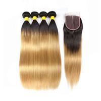 Wholesale honey blonde ombre dark hair online - T B Dark Root Honey Blonde Bundles With Closure Peruvian Straight Ombre Virgin Human Hair Weave Bundles with Lace Closure