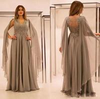 gümüş grisi gelinlik toptan satış-Gümüş Gri 2019 Son Anne Gelin Elbiseler V Boyun Dantel Aplikler Boncuk Artı Boyutu Düğün Konuk Balo Abiye giyim