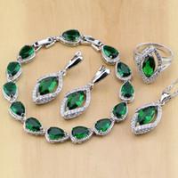 conjunto de collar verde esmeralda al por mayor-Rombal verde creado esmeralda blanco CZ 925 juegos de joyas de plata esterlina para las mujeres pendientes / colgante / collar / anillos / pulsera