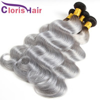 Wholesale highlighted extensions - Highlight 1B Grey Peruvian Virgin Body Wave Ombre Hair Bundles Two Tone Gray Colored Human Hair Extensions Grade 9A Wavy Ombre Weaves