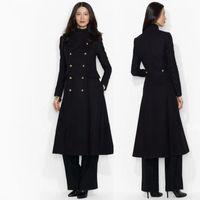 uzun siyah kaşmir ceket toptan satış-Siyah Yün Smokin Maxi Ceket Zarif Smokin Elbise Kadın Uzun Yün Kostüm Elbise Uzun Tasarımcı Elbise Manteau femme Yün Kaşmir Ceket