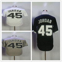 Wholesale michael movies - Michael #45 Birmingham Barons Button Down Baseball Jersey White Black Gray Mens Movie Jerseys Stitched Baseball Jerseys