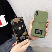 ingrosso jeans modello di esercito-Casi di tasca del titolare di slot per scheda di modello di jeans della personalità del caso del telefono verde dell'esercito 2018 per IPhone X 8 7 6s più copertura posteriore