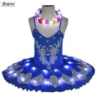 ingrosso vestiti di manica neri viola-Nuovo Led professionale Balletto Tutu bambino Swan Lake Costume Balletto vestito per bambini Pancake ledTutu Girls Dancewear