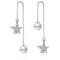 elmas taklidi kar tanesi küpeleri toptan satış-EH234 Moda Kadınlar Kristal Rhinestone Kar Tanesi Yıldız Kulak Saplama Küpe Düğün Gelin Takı Gümüş kaplama Dondurulmuş Kar Tanesi küpe