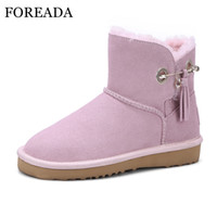 Wholesale wedge ankle wool boots - FOREADA Women Winter Boots Genuine Leather Snow Boots Wool Fur Ankle Platform Wedge Shoes Fringe Suede Shoes Female Pink