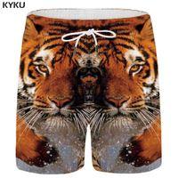 ingrosso giallo cargo shorts uomini-KYKU Marca Tiger Shorts Uomini Water Beach Animal Pantaloni corti Giallo Cargo 3d Stampato Shorts Casual Hawaii Anime Mens Summer