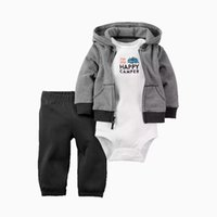 Wholesale newborn boy trousers for sale - Group buy 3pcs Newborn baby boys girls outfits Cute cotton hooded coat trousers romper set for baby suit infant clothes outfit