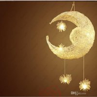 Wholesale moon pendant lamp - Hot Modern Personalized Moon Star Chandelier Children Bedroom Lustres hanging with 5 Lights G4 ceiling lamp home decorative Fixture Lighting
