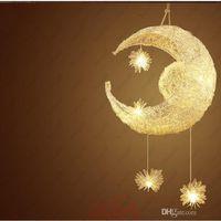 ingrosso camera da letto lampadario soffitto chiaro-Hot Modern personalizzato Moon Star Chandelier Bambini Camera da letto Lustre appeso con 5 luci G4 soffitto lampada decorativa domestica Apparecchio di illuminazione