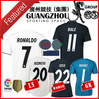 Wholesale full sleeve woman - 18 19 RONALDO Real madrid WOMEN Soccer Jerseys Long sleeve ASENSIO BLAE AWAY BENZEMA ISCO GOALKEEPER HOME LADY MAN ADULT JERSEY shirt