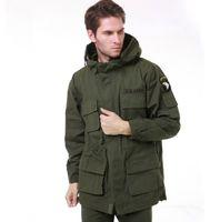 ingrosso giacca di trincea dell'esercito-Giacca casual da uomo US Army AIRBORNE Tactical Jacket da uomo Autunno inverno in cotone con cappuccio multitasche camouflage