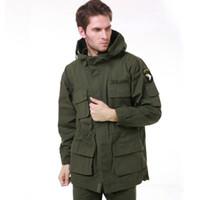 veste de tranchée armée achat en gros de-Homme Trench US Army AIRBORNE Veste Tactique Hommes Automne Hiver Coton Multi Pocket Camouflage Manteau À Capuche