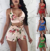 ingrosso vestiti di notte-Completo donna due pezzi Completo intimo donna Completo donna Night Club Plus Size Reggiseno stampa arco Top + Mini short Pant KKA4827