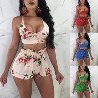 artı kulüp kıyafetleri toptan satış-Kadın Iki Parçalı Set Bayanlar Iç Çamaşırı Kıyafet Femme Gece Kulübü Suits Artı Boyutu Yay Baskı Sutyen Üst + Mini Kısa Pantolon KKA4827