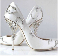 Wholesale White Black Evening Shoes - Ralph & Russo Bridal Shoes Real leather Top Hot New 2018 Ornate Filigree Leaf Womens Dress Evening Party Pumps Girl Sexy Euro 42
