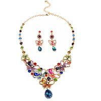 mehrfarbige indische halskette großhandel-Multicolor strass luxus österreichischen kristall halskette ohrringe schmuck set indisch türkisch hochzeit schmuck sets
