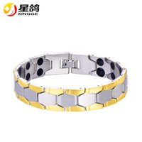 Wholesale wristband for balance - Silver&Gold-Color Men Chain Bracelet Jewelry Energy Health Magnetic Bracelets for Man Charm Balance Wristband Drop Shipping Wholesale