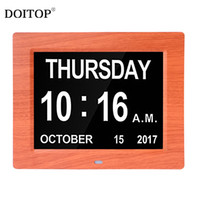 Wholesale frame wall clock - DOITOP 8 Inch Dark red wood pattern Dual Color Digital clock LED electronic wall clock calendar photo frame Day and Date Display