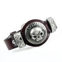 kaya deri bilezik toptan satış-Moda Hakiki Deri Punk Kafatası Adam Bileklik Bilezik Watchband Tasarım Kaya Erkekler Kadınlar Için İskelet Bilezik Takı Aksesuarları