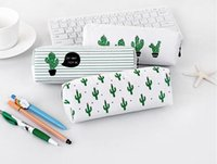 Wholesale large fabric pencil case - Partysu Pencil Bag Creative Cactus Canvas Pencil Case Triangle Models Octagon Section Large Capacity Stationery Bag