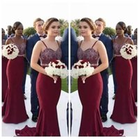 Wholesale Floor Lighting Strips - 2018 Sexy Spaghetti Strips Mermaid Burgundy Long Bridesmaid Dresses African Lace Maid Of Honor Gowns Wedding Guest Dresses Cheap Custom