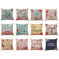 almofadas do sofá da letra venda por atacado-Carta Floral Padrões de Linho Capas de Almofada Home Office Sofá Quadrado Fronha Decorativa Travesseiro Cobre Sem Inserir (18 * 18 Polegadas)