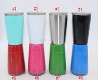 Wholesale Cups Lids Straws - 8.5oz Wine Glasses Stainless Steel Tumbler 8.5oz Cups Travel Vehicle Beer Mugs Non-Vacuum Mugs with Straws&lids 2018 Hot Sale