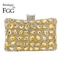 ingrosso borse da promo d'oro-Boutique De FGG Elegante Hot-Fixed Donna oro cristallo borsa da sera festa di nozze strass borsa frizione borsa minaudiere