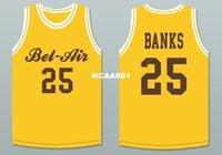ingrosso aria di banca-Uomo # 25 Carlton Banks 25 Bel-Air Academy Deluxe giallo BLUE College jersey Taglia S-4XL o personalizzato qualsiasi nome o numero