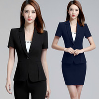 Wholesale Woman Business Pants Suits - 2018 Office Pant Suit Women Short Sleeve Suit Jacket Blazer 2 Pieces Business Slim Fitted Suits The Feminine ow0317