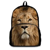 ingrosso materiale del leone-Zaino per borse di animali di materiale di alta qualità Zaino di stampe animali leone Zaino scuola portatile per adolescenti Ragazzi