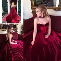 6d8d51e18 Wholesale velvet corset dress for sale - Elegant Burgundy Velvet Prom  Dresses ball gown Sweetheart Sleeveless