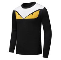 suéter amarillo xl al por mayor-Los más vendidos diseñador suéter Otoño Invierno Nuevo patrón kanye west Pequeño monstruo monstruo ojos amarillos Suéter de manga larga para hombre Suéteres clas