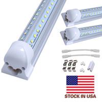 dlc venda por atacado-8ft levou V-Shaped 4ft 5ft 6ft porta do cooler levou tubos de tubos de LED integrados Dupla face SMD2835 luzes fluorescentes AC 85-265V UL DLC