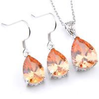 Wholesale morganite pendants - LuckyShine 5 Sets Crystal Zircon Water Drop Morganite Earrings and Pendant Chain Necklace 925 Silver Women Fashion Wedding Sets FREE SHIPPIN