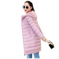 Wholesale Ladies Down Coat Medium - Winter Women Jacket Coats 2017 Fashion Slim Medium Long Down Cotton Hooded Overcoat Thick Warm Jacket Student Coat Lady Clothing