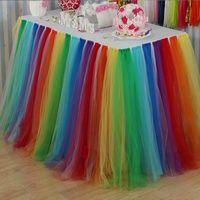 dantel düğün masa örtüleri toptan satış-Gökkuşağı Dantel Masa Etek Sofra Düğün Parti Doğum Günü Dekor Masa Örtüsü Ev Noel Için Tekstil Süslemeleri HH7-1506