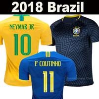 Wholesale p red - Brazil soccer jerseys 2018 world cup Brasil camisa de futebol national team NEYMAR JR G JESUS P COUTINHO MARCELO FIRMINO AAA football shirts