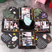 Wholesale explosion box resale online - DIY Surprise Love Explosion Box Gift Explosion for Anniversary Scrapbook DIY Photo Album birthday Gift Wrap Finished box WX9