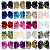 Wholesale valentine hair online - 8 Inch Rhinestone Hair Bow Jojo Bows With Clip For School Baby Children Large Sequin Bow Style For valentines