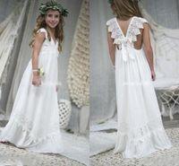 Wholesale new model dresses for kids - 2018 New Arrival Boho Ivory Flower Girl Dresses For Weddings V Neck Chiffon Lace Child Communion Dresses Kids Formal Wear BA7623