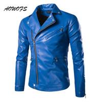 abrigo ajustado negro al por mayor-Moda Hombres AOWOFS chaquetas de cuero azul / Negro Delgado Equipada cazadora chaquetas abrigos de diseño punky del motorista Hombres Primavera 5XL