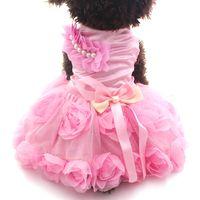kleine t-shirts groihandel-Kleiner Hund Katze Prinzessin Dress Shirt RosetteBow Design Puppy Kleider Rock Frühling / Sommer Outfit Kleidung Bekleidung 2 Farben 6 Größen